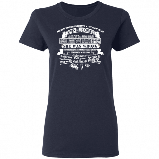 Never Underestimate A Woman Who Loves Blue Cheese She Was Wrong T-Shirts, Hoodies, Long Sleeve