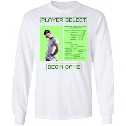 Jacksepticeye Player Select Begin Game T-Shirts, Hoodies, Long Sleeve