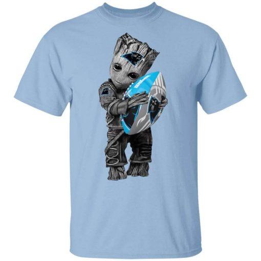 Baby Groot Hugging Carolina Panthers T-Shirts, Hoodies, Long Sleeve