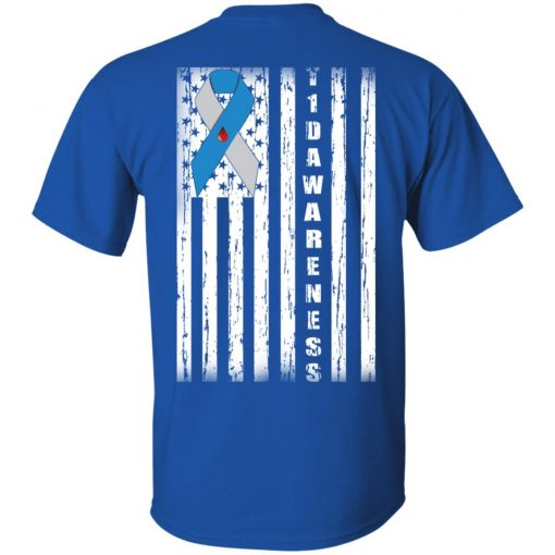 Type 1 Diabetes Awareness Support T1D Flag Ribbon T-Shirts, Hoodies, Long Sleeve