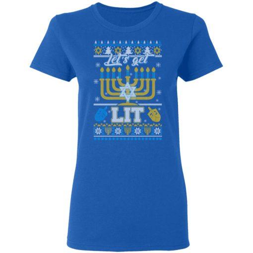 Funny Happy Hanukkah Chanukah Let's Get Lit T-Shirts, Hoodies, Long Sleeve