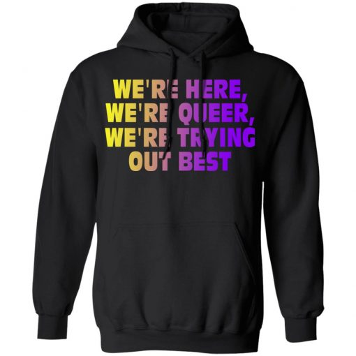 We're Here We're Queer We're Trying Out Best T-Shirts, Hoodies, Long Sleeve