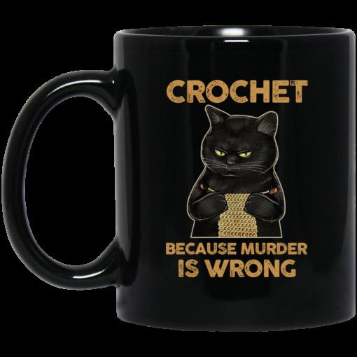 Black Cat Crochet Because Murder Is Wrong Mug