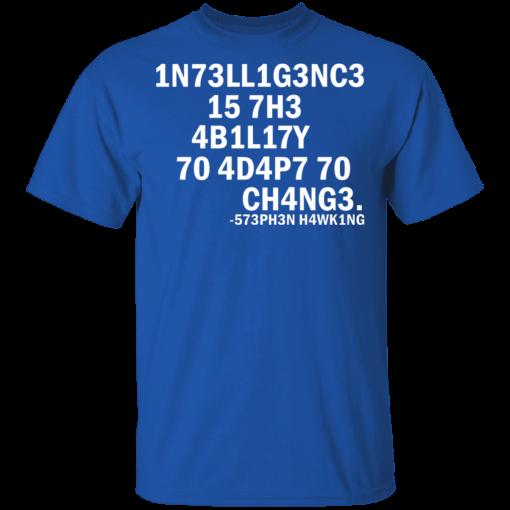 1N73LL1G3NC3 15 7H3 4B1L17Y 70 4D4P7 70 CH4NG3. -573PH3N H4WK1NG T-Shirts, Hoodies