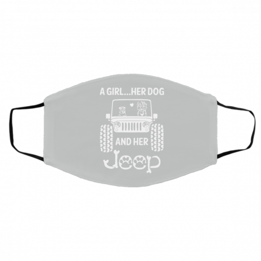 A Girl Her Dog And Her Jeep Face Mask