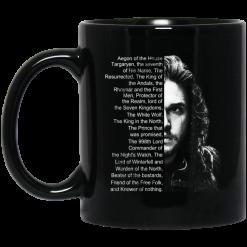 Jon Snow: List Name Aegon Of The House Mug