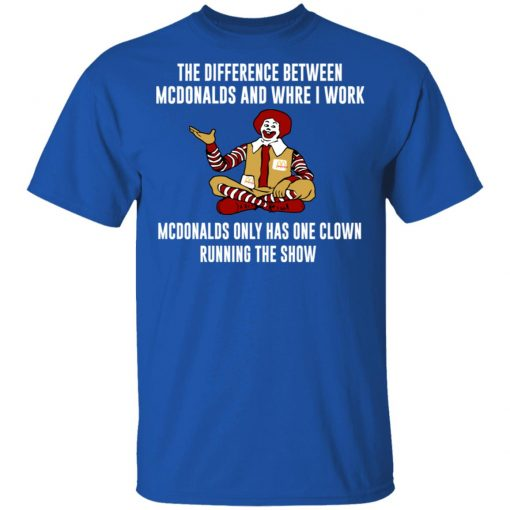 The Difference Between McDonalds And Where I Work McDonalds Only Has One Clown Running The Show T-Shirts, Hoodies, Long Sleeve