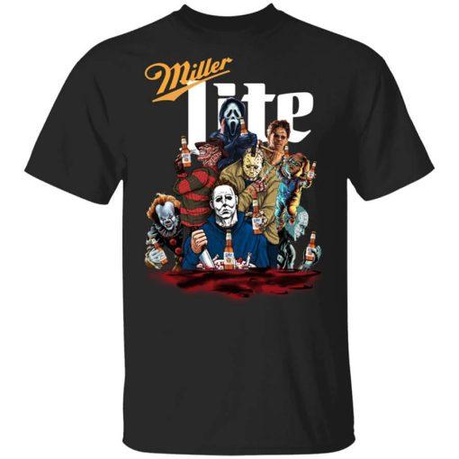 Halloween Horror Characters Drink Miller Lite T-Shirts, Hoodies, Long Sleeve