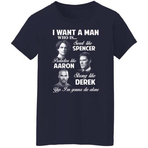 I Want A Man Who Is Sweet Like Spencer Protective Like Aaron Strong Like Derek T-Shirts, Hoodies, Long Sleeve