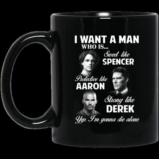 I Want A Man Who Is Sweet Like Spencer Protective Like Aaron Strong Like Derek Mug