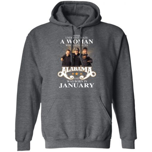 A Woman Who Listens To Alabama And Was Born In January T-Shirts, Hoodies, Long Sleeve