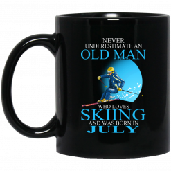 Never Underestimate An Old Man Who Loves Skiing And Was Born In July Mug