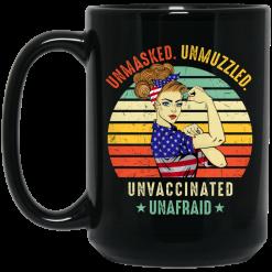 Vintage Unmasked Unmuzzled Unvaccinated Unafraid USA Flag Mug