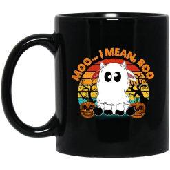 Ghost Cow Moo I Mean Boo Pumpkin Moon Halloween Vintage Mug