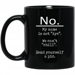 No My Name Is Not Aye We Can't Chill Send Yourself A Pic Mug